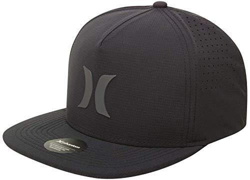 Hurley Men's Baseball Cap - AeroBill Snap-Back Trucker Hat, UPF 50, Size One Size, Black