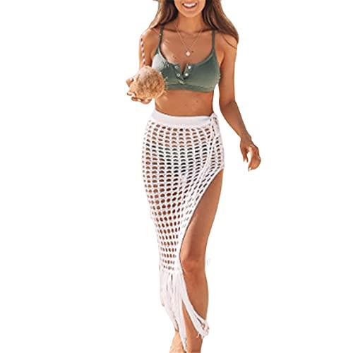 Beauace Boho Maxi Falda de cartera de verano de punto de napa Vestido largo de playa con abertura See Through Pareo Sarong traje de baño Sexy Bikini Cover Up, blanco, L