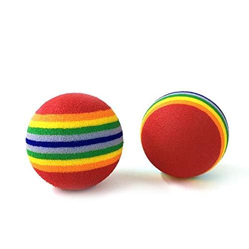 Training Tierbedarf Farben-Haustier-Katzen-Kätzchen Weicher Regenbogen Play Ball Durchmesser 3,5 cm Aktivität Spielzeug Interessante Eva-Kugel (Color : Rainbow Colors, Size : 35mm)