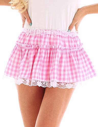 inlzdz Women's Pleated Lace Hem Gingham A-line Mini Skirt Sissy Adult Baby Crossdress Fancy Dress Pink Small