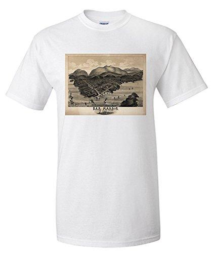 Lanterner Bar Harbor, Maine - Panoramic Map (Premium T-Shirt) White