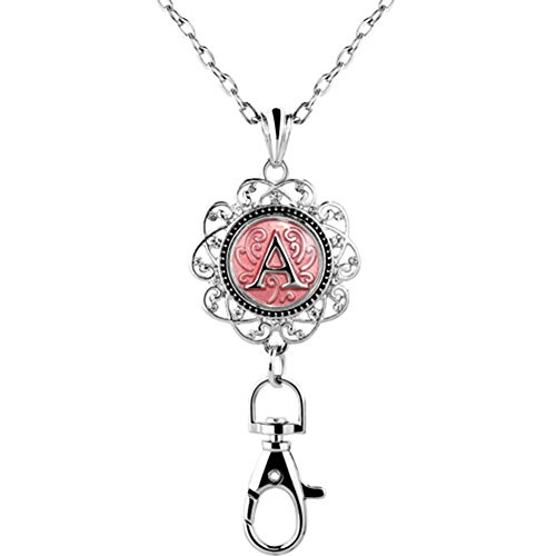 Mel Crouch Women Office Lanyard ID Badges Holder Necklace Keychain with letter A-Z Snap Charms Clip (A)