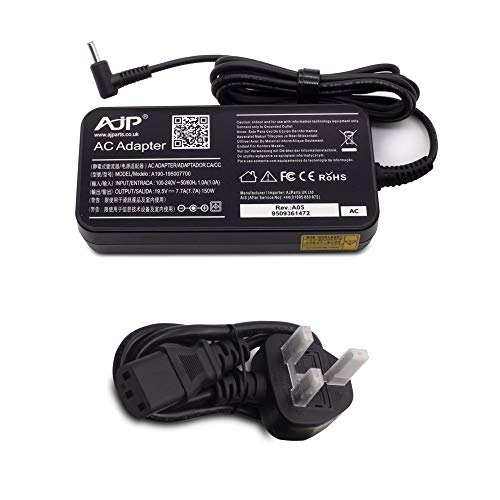 Wikiparts* New 150W 19.5V 7.7A Laptop Slim Type Power Supply Charger Ac Adapter Replacement For HP OMEN 17-AN022TX, 17-AN023NA, 17-AN023NF