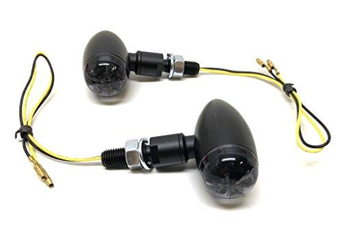 HIGHSIDER Lot de 2 clignotants LED MICRO-BULLET entièrement noirs homologués E pour Chopper Bopper Scrambler Cruiser