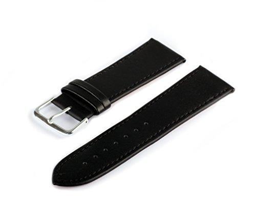 TimeStore24 Uhrenarmband Schwarz Lederarmband Dornschließe Silberfarben (16 mm XL)