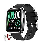 QFSLR Smartwatch Reloj De Pulsera Inteligente con Llamada Bluetooth con Monitor De Frecuencia Cardíaca Monitor De Presión Arterial Seguimiento del Sueño Reloj Deportivo,Negro