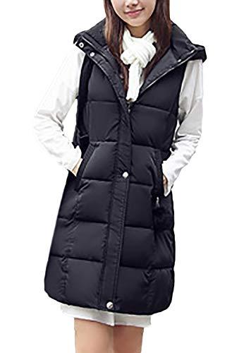 Chaleco Acolchado Mujer Elegante Largos Otoño Invierno Pluma Camisolas Encapuchado Sin Mangas Espesor Termica Informales Ropa Fashion Colores Sólidos Chaleco Chaquetas Abrigos
