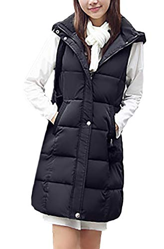Chaleco Acolchado Mujer Elegante Largos Otoño Invierno Pluma Camisolas Basic Encapuchado Sin Mangas Espesor Termica Informales Fashion Colores Sólidos Chaleco Chaquetas Abrigos Ropa