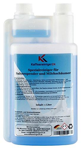 Kaffeereiniger24 I Flüssig-Reiniger, Milchschaumreiniger, Milchsystemreiniger für Kaffeevollautomaten und Kaffeemaschinen mit Milchaufschäumer I Made in Germany I 1 Liter