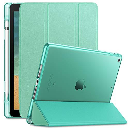 INFILAND Funda para iPad 9,7 2018/2017 (6. Generation/ 5. Generation), Delgada Translúcido Case Smart Cover con Portalápiz Compatible (Auto Reposo/Activación Función), Menta Verde