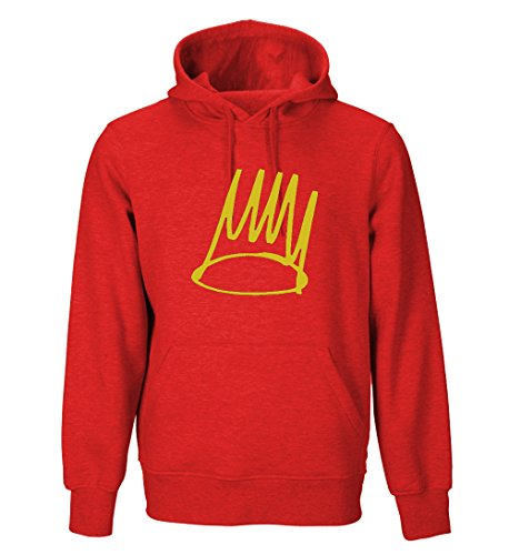 J Cole Crown Adult Hoodie (Black, Blue, Red, White, Green, Gray, Purple) (X-Large, Red)