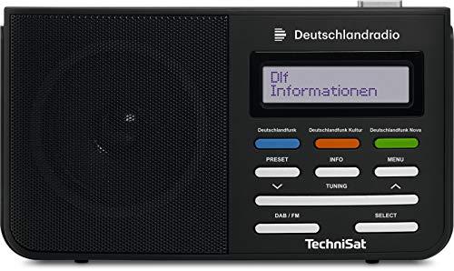 TechniSat DIGITRADIO 210 Digital-Radio mit Direktwahltaste zu Deutschland-Radio, tragbar, DAB+, UKW, zweizeiliges LCD-Display, Teleskopantenne, Kopfhöreranschluss, Favoritenspeicher, Netzteil, schwarz
