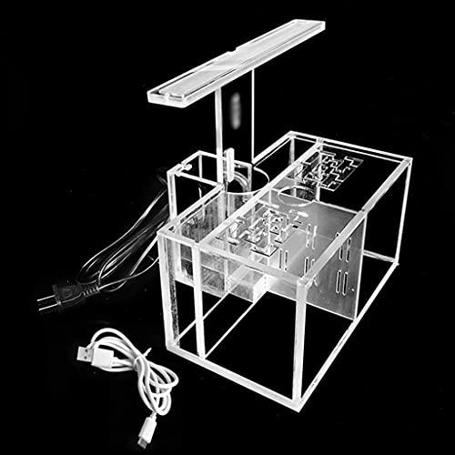 SSMDYLYM LEDデスクランプの水ポンプフィルター水槽のオフィスのデスクトップの装飾が付いているアクリルの魚のタンクの自由な水交換の絶縁の箱