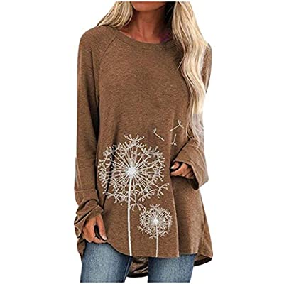 Lutos Plus Size Graphic Raglan Shirt for Women Round Neck Dandelion Print Casual Shirts Tops