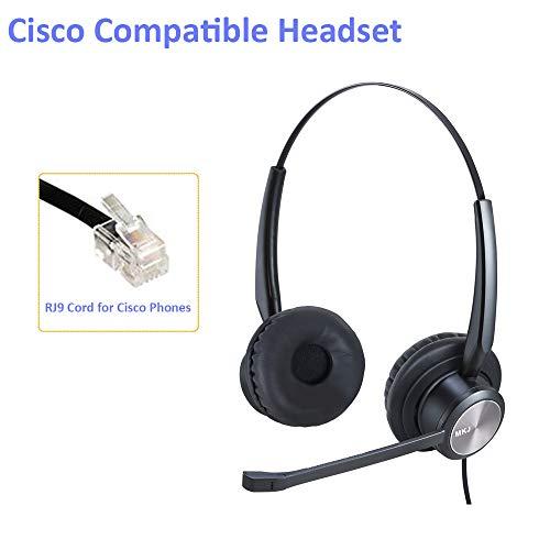 MKJ RJ9 Cisco - Auriculares con micrófono con cancelación de Ruido para Cisco CP-7861, 7942G, 7941G, 7945G, 7960, 7961G, 7962G, 7965G, 7971, 7971G, 7975G 8841, 8861, 9951, etc.