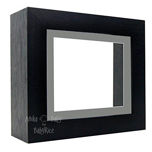 Bilderrahmen, 15,2 x 12,7 cm, mit grauem Passepartout und weißem Hintergrund, Schwarz
