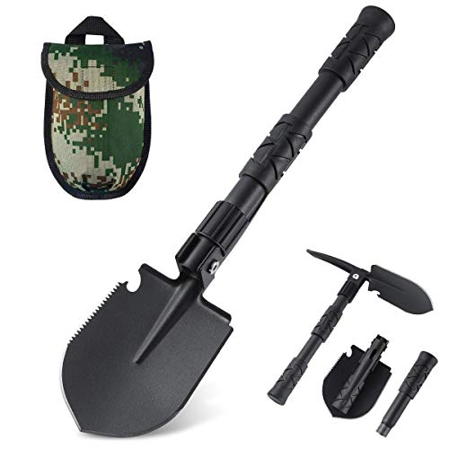 OKOOLCAMP Folding Shovel Portable Camping Multitool Heavy Duty Alloy Steel Car Snow Shovel 161 inch Survival Shovel for Off Road Gardening Camping Hiking Backpacking Fishing