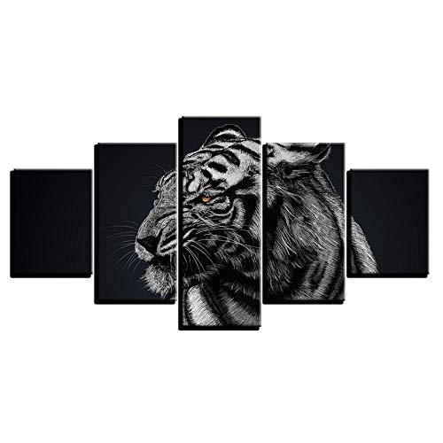 COCOCI Lienzo 5 Piezas Forest Animal Tiger Living Room Lienzos Decorativos Cuadros Grandes Baratos Cuadros Decoracion Cuadros para Dormitorios Modernos Cuadros Decoracion Regalos Personalizados