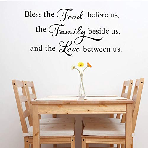TOARTi Bless This Food Before Us,The Family Beside Us, and The Love Between Us Wall Decal, Kitchen Dining Room Prayer Sticker, Family Love Positive Quote Thanksgiving Decal