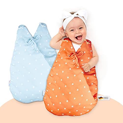 MiKaKid Saco de dormir prémium para bebé todo el año, certificado Oeko-Tex, lavable con función patentada SafeBag – rojo y azul – [0-3 meses & 2-6 meses] – 100% algodón agradable