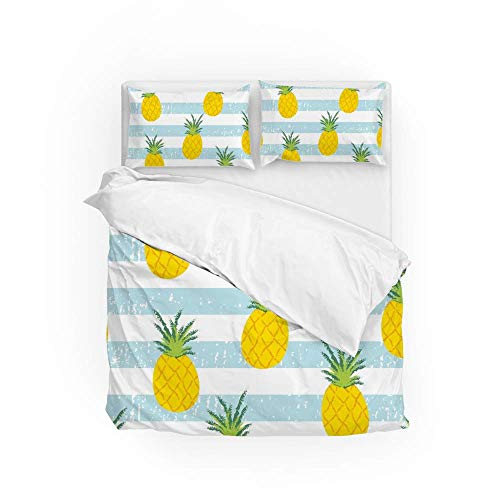 161 Soft Quilt Bedding Set Fresh Pineapple Stripe Duvet Cover with 2 Pillowcases Set 3 Pieces 230 x 220 CM, King