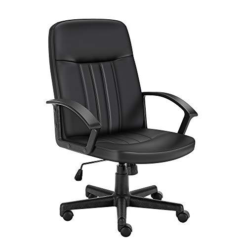 Bürostuhl, Schreibtischstuhl aus Leder mit mittlerer Rückenlehne, Computer-Drehstuhl, ergonomischer Executive-Stuhl mit Armlehnen(Schwarz)