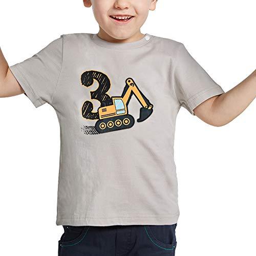 AMZTM 3º Cumpleaños Camión de Construcción Party Camiseta 3 Años Niño Bebé Manga Corta Suministros de Fiesta de Cumpleaños 100% Algodón Estampada Gris Top