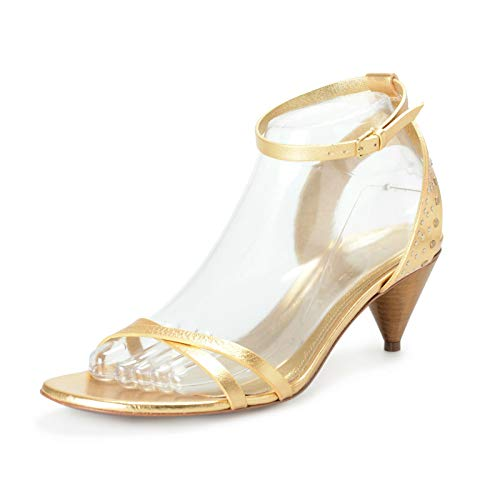 BURBERRY London Women's Hansel Leather Ankle Strap Heeled Sandals Shoes Sz US 7 IT 37 Gold