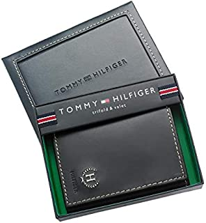 Tommy Hilfiger Black Leather For Men - Trifold Wallets