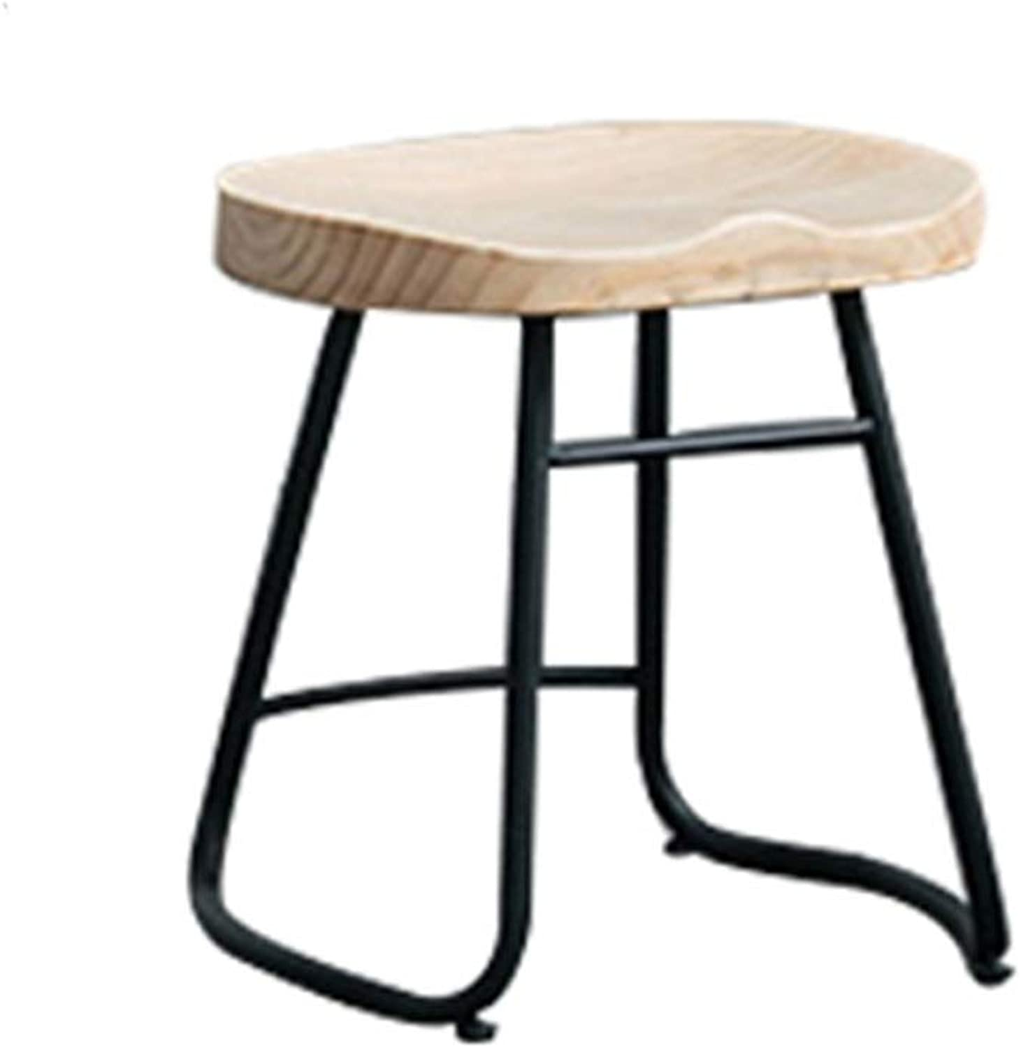 Modern Simple Bar Stool Iron Art High Leg Counter Barchair Breakfast Cafe Household Solid Wood Seat 0522A (Size   45cm Seat Height)