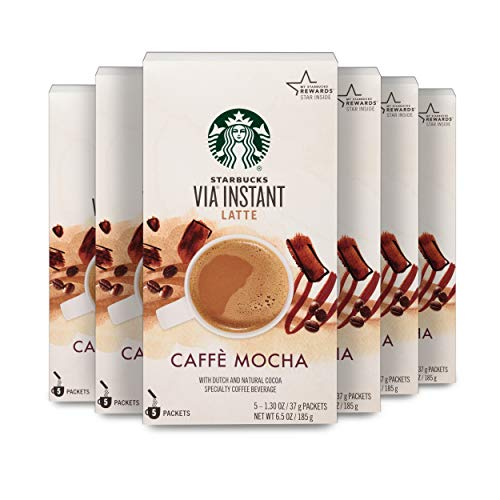 Starbucks VIA Instant Coffee Flavored Packets — Caffé Mocha Latte — 6 boxes (30 packets total)