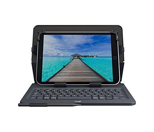 Logitech Universal Folio Cover iPad o Tablet con Tastiera Bluetooth Wireless, Apple, Android, Windows da 9-10 Pollici, Facile Configurazione, Durata Batteria fino a 2 anni, Inglese Qwerty, Nero