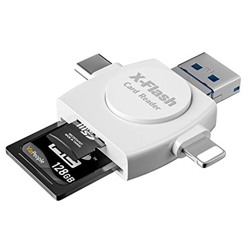 メモリカードリーダー 4in1 SDメモリー カードリーダー USBマルチカードリーダー Lightning/TYPE-C/USB/Micro-USB 超高速データ転送 OTG 多機能 SD/Micro SDカード両対応 SDカードリーダー iphoneデータ保存 カメラ用 外付メモリーカードリーダー メモリ解消 容量不足 ファイル管理 データ移行 音楽 写真 動画 パソコン/タブレット/Windows/iPhone/Android対応 (4 IN 1 メモリカードリーダー) (ホワイト)