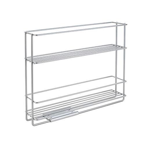 Metaltex In und Out Gewürzregal ausziehbar, Metall, Silbermetallic, 22 x 28 x 6 cm