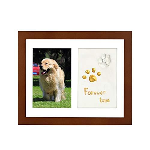 ONE WALL Marco de Fotos para Perros Gatos Mascotas, Marcos de Madera Fotos con Arcillas para Huellas, Placa Conmemorativo Decoraciones para Hogar Pared Mesa con Kit de Tampón (Marrón)