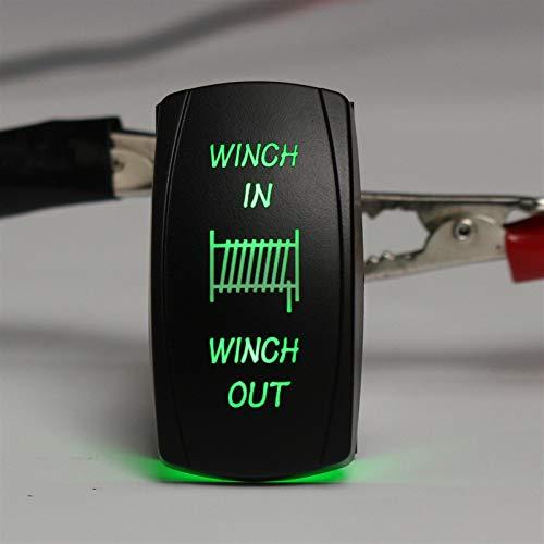 DFYYQ 12V 20A 24V 10A 7PIN Coche LED Encendido/Apagado Rocker Interruptor Interruptor de botón momentáneo Torno en el Barco (Color : Green)