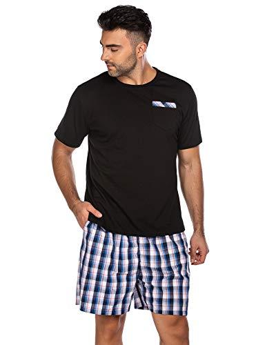 Herren Schlafanzug Kurz Pyjama Nachtwäsche 2-Teiler Shorty inkl. Hose Oberteile für Sommer Sauna