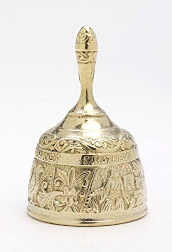 Unbekannt Evangelisten Glocke groß H 12,5 cm, Messing, Gold, Glocke mit 4-Evangelisten-Motiv auf der Außenseite