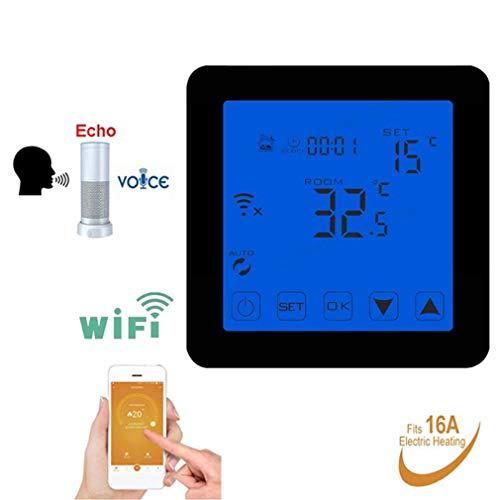 QAIYXM WiFi Programmierbarer Thermostat Echo Alexa Sprachsteuerung für elektrische Fußbodenheizung Raumtemperaturregelung 16A 90-240V,B