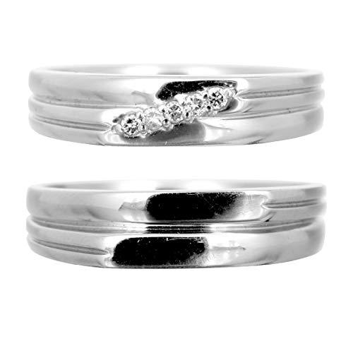 [ココカル]cococaru ペアリング シルバー リング2本セット ダイヤモンド マリッジリング 結婚指輪 日本製(レディースサイズ20号 メンズサイズ2号)