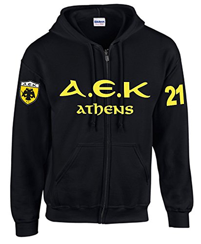 SRS-Textilservice AEK Athen Jacke, Sweatshirt Hellas, Griechenland Greece (XL, Schwarz)