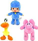 YUNCHENG 3pcs22-30cm Pocoyo Elly & Pato & Pocoyo Plush Stuffed Toys Soft Animals Toy Brinquedos Gifts for Children Kids