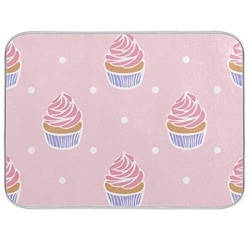 Alfombrilla de secado absorbente para platos con diseño de lunares, escurridor, soporte para ollas con lazo para colgar para encimeras de cocina, fregaderos, refrigerador, 40,6 x 45,7 cm