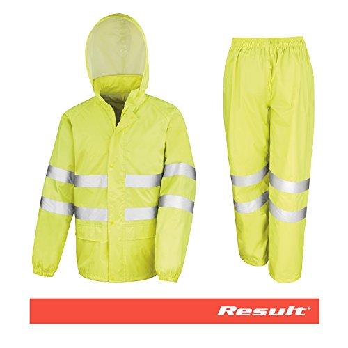 Traje de Agua/Conjunto Lluvia Alta Visibilidad con Bandas Reflectantes - 2 Piezas (Pantalón y Chaqueta) - Impermeable (2.000 mm) y Resistente al Viento - Color: Amarillo Fluorescente (XL)