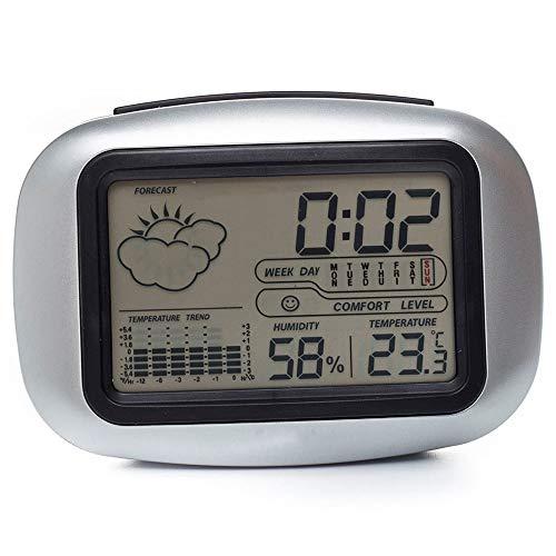 Gdxy Wekker Digitale Tafel Desktop Snooze Alarm Klok met Temperatuur Thermometer Vochtigheid Hygrometer Thuis Weerstation