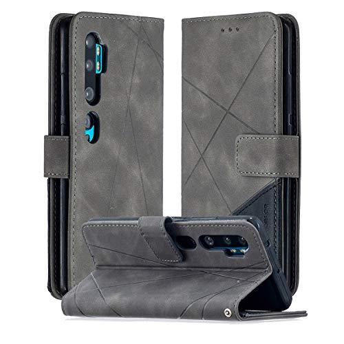 SHUNDA Capa para Xiaomi Mi CC9 Pro, capa flip magnética de couro com compartimento para cartão e suporte para Xiaomi Mi CC9 Pro - Cinza