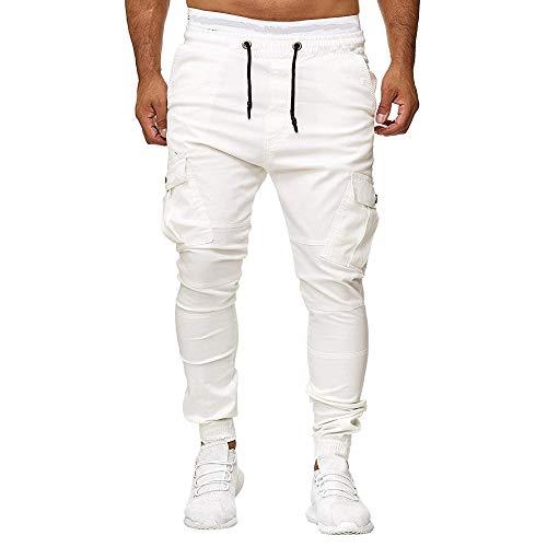 ZIYOU Herren Freizeithose Jogginghose Slim Fit Cargo Chino Hosen Outdoor Stoffhose für Männer Latzhose mit Elastische Kordelzug (Weiß,EU-S/CN-L)