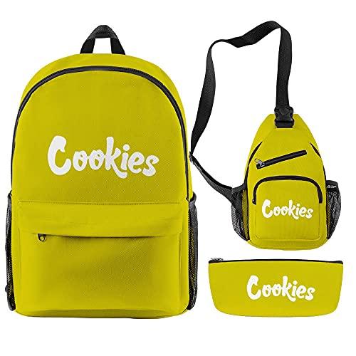 Conjuntos de Mochilas para Hombres y Mujeres 3 Piezas Cookie Teenager Boys Girls Mochilas Escolares Mujeres Hombres Oxford Streetwear Impermeable Bolsas de Viaje-Amarillo
