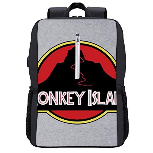 Monkey Island Jurrassic Park Logo Travel Backpack Laptop Backpack with USB Port Backpack Suitable for 15.6-inch Laptop Backpack
