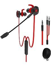Wired Gaming-hoofdtelefoon met verstelbare microfoon voor PS4, Xbox, laptop-computer, mobiele telefoon, DLAND E-sport-oortelefoon met draagbare zakken, Soft Design (rood)